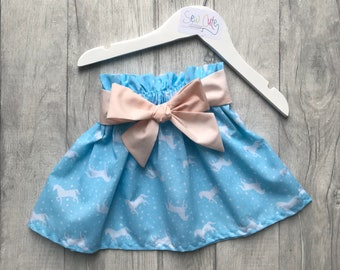 Skirt, Children's Skirt, Girls Skirt, blue unicorns, unicorn skirt, skirt with bow