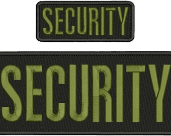 Security Embroidery Patch 10x4 and 5x2 inches Hook backing od green letters