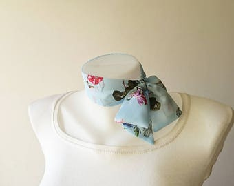 "Light Blue Floral Mini Skinny Scarf, 36.5""x2"",Flower Print Chiffon Neck Tie, Choker, Thin Scarf with Angled Ends, Headband, Spring Summer"