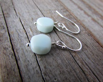 Peruvian Opal Earrings, small and simple, sky blue peruvian opal stones