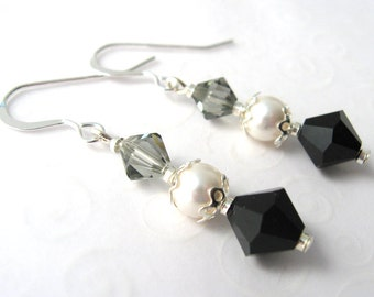 Black Crystal Drop Earrings, Swarovski Elements Crystal Jewelry, Pearl and Crystal Earrings, Elegant Dangle Earrings