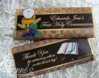 Communion Holy Eucharist Candy Bar Wrappers - Chocolate Bar Favors - Religious Event, First Holy Communion, Priest Anniversary, Ordination