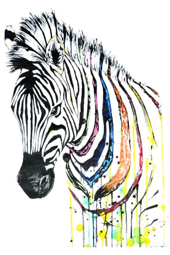 Colorful Zebra Print Nail Art Tutorial: Zebra Head Animal Art Abstract Art Colorful Artwork Print