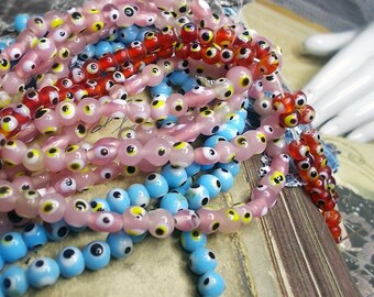 Rustic Glass Eye Beads - 25 Round Evil Eyes - Red, Pink, Blue - Choose a Color - Small Indian Lampwork Spacer Beads - Primitive Boho Set