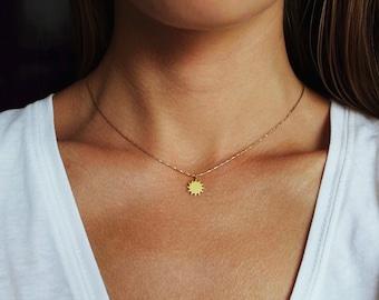 Dainty Necklace, Sun Necklace, Delicate Necklace, Gold Choker, Gold Pendant, Gold Sun Pendant, Short Necklace, Sun Jewelry, Dainty Jewelry