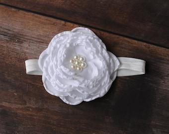 Headbands White, White Baby Headband, White Newborn Headband, White Headbands, Large White Headband, White Flower Headband
