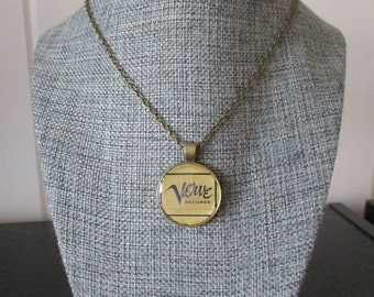 """Recycled vinyl record sleeve necklace - Verve Records!"""""""