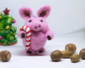 SALE Felted pig Ornament Christmas Ornament  big Ornament Christmas Decoration, Woodland Ornament, Christmas Gift Felt Christmas ornaments