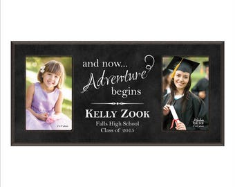 "Personalized Graduation Frame, Custom Double 4 x 6 Frame, ""and now...Adventure begins"""