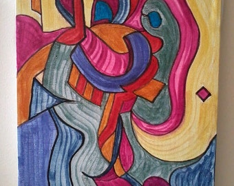 Lying Blonde --- Highly Original Abstract Painting / Hyper-Cubism by Nathan Coppedge