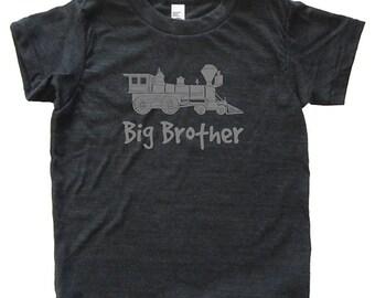 Train Engine Big Brother Tshirt - Kids Train Shirt - Tee - Youth Boy Shirt / Super Soft Kids Tee Sizes 2T 4T 6 8 10 12 - Heather Black