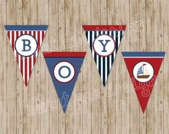 Nautical Baby Shower or Birthday Party Banner- Custom Printable