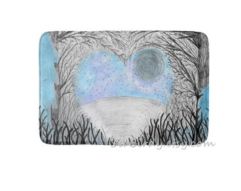 Woodland lake heart trees bath rug mat kitchen mat bedroom plush rug floor mat choose size made to order decor home decor custom rug