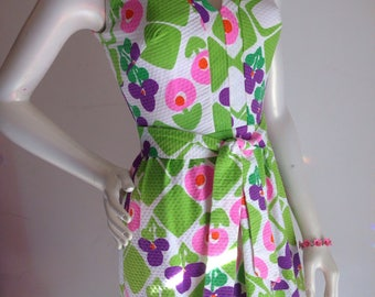 Vintage hawaiian pink purple green maxi dress 1960s 1970s Malia summer cotton pique with belt 25% OFF price