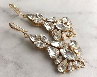 Wedding jewelry - gold bridal earrings - Swarovski crystal - wedding earrings - gold crystal earrings - gold statement earrings - Stella