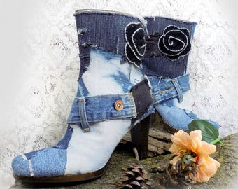 unique boots - Denim boots  - Boho boots - blue jean boots - funky boots - Hippie boots size 8 -groovy boots- women's boots size 8-  # B 3