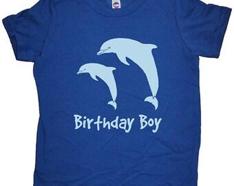 Birthday Dolphin Shirt - Dolphin Pair Birthday Boy Tee - Dolphins T Shirt - 7 Colors - T shirt Sizes 2T, 4T, 6, 8, 10, 12 - Gift Friendly