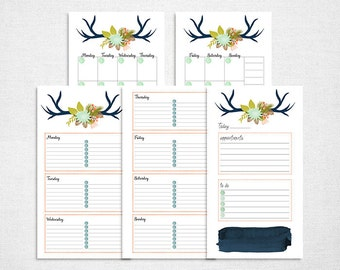 Printable Personal planner pages set of day on one page, week on two pages and month on two pages inserts for filofax or other ring binder