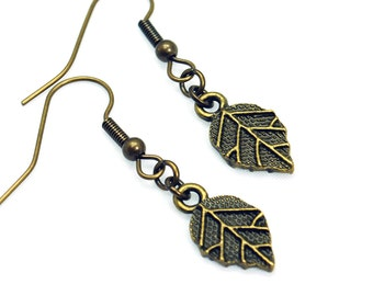 Antique Brass Leaf Earrings
