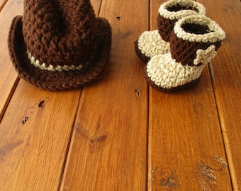 Cowboy Hat and Boots Set, Newborn Cowboy Outfit Cowboy Hat Crochet Baby Cowboy Hat and Boots Baby Cowboy Outfit Photo Prop Cowboy Photo Prop