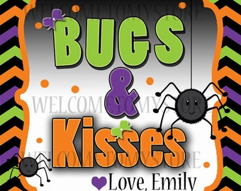 Bugs and Kisses Personalized Halloween Favor Tags, Goody Halloween Favor Tag