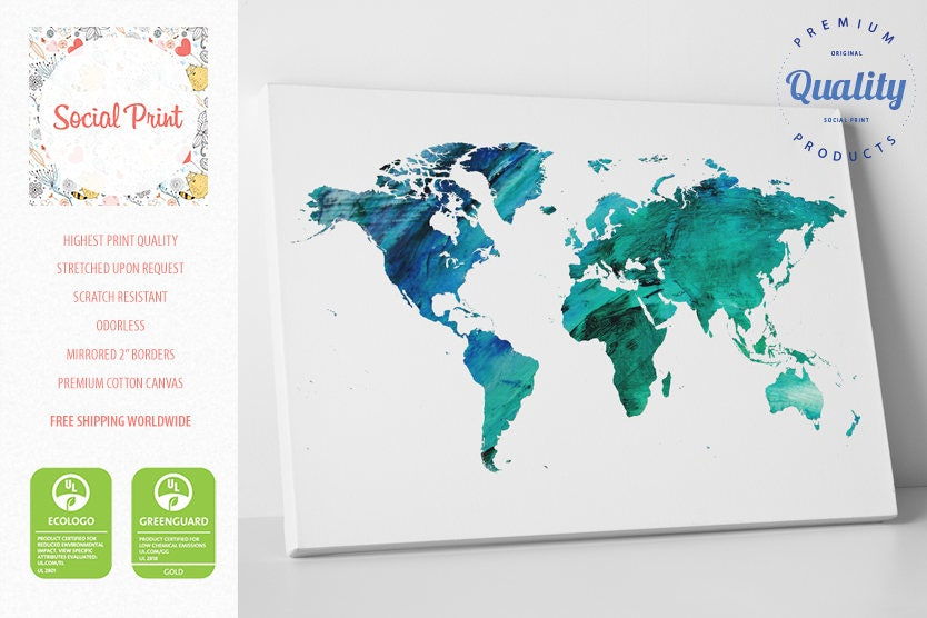 Aquamarine world map canvas print watercolor free shipping zoom gumiabroncs Gallery