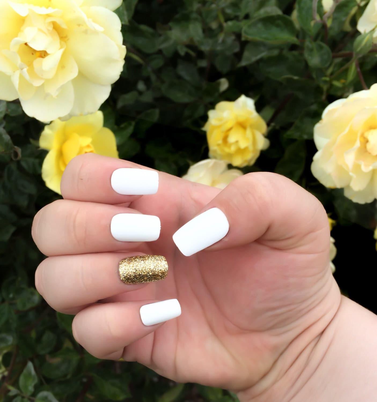 Matte Fake Nail Set White False Nails Glitter Acrylic Nails