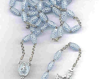 Blue floral w/ wavy lines 5-decade chain rosary