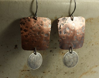 Hammered Copper and Silver Earrings, Sterling Silver Earrings, Southwestern Earrings, Hammered Silver Earrings, Hammered Copper Earrings
