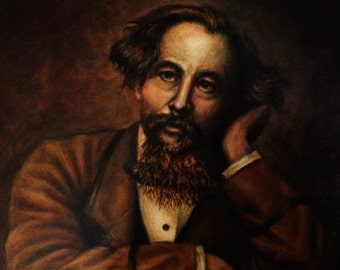 Oil Painting Portrait of Charles Dickens