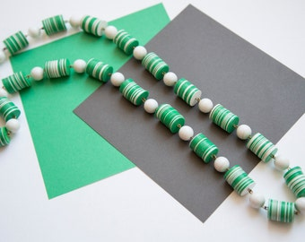 Long Green and White Vintage Bead and Disk Necklace!