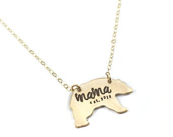Mama Bear Necklace, Momma bear necklace, Established, Est., mom jewelry, custom personalized established year, mom gift, mama gift