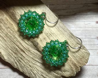 Crystal Bead Dangles Green Bead Earrings Beadwork Earrings Green Circle Dangles Green Bead Dangles Green Rivoli Dangles Seed Bead Earrings