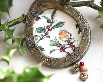 English Robin Painting, Holly Leaves, Botanical Painting, Wall Sculpture, Bird Painting, Bird Lover Gift, Miniature Painting, Holly Art