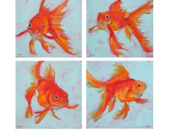 Goldfish Grouping - Paper - Canvas - Wood Block