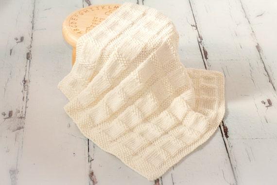 Knitting Patterndiy Instructions Gingham Check Baby Blanket