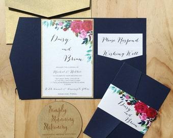 Navy Wedding Invitation Floral Pocketfold SAMPLE