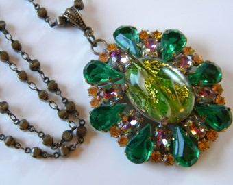 Vintage Signed Husar D Czech Pendant Necklace Czech Green Glass Pendant Czech Statement Necklace