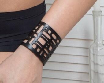 Laser cut leather bracelet , black leather bracelet , statement bracelet  , Boho bracelet , gothic jewelry(V-3124)