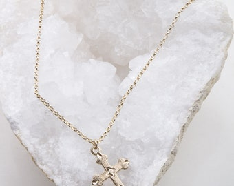 Dainty Medium Cross Necklace, Religious Jewelry, Easter Gift, Cross Necklace in Gold Filled, Silver, Rose Gold, Dainty Cross Necklace