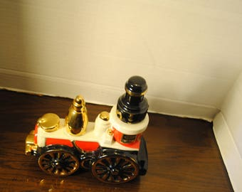 Ezra Brooks Fire Engine Decanter Red and White with Gold Trim