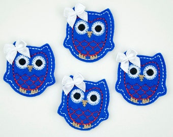 OWL - Embroidered Felt Embellishments / Appliques - Blue, Red & White  (Qnty of 4) SCF6520