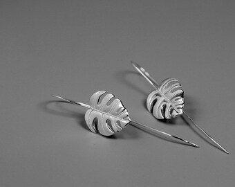 Monstera Leaf Earring-Sterling Silver Simple Leaf Earring-Palm Tropical Leaf-Trendy Plant Jewelry-Gift for her