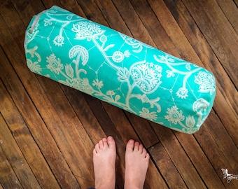 Yoga Bolster Mint Green buckwheat body pillow handmade restorative practice gear by Creations Mariposa YB-VM
