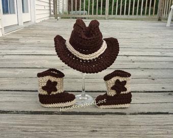 Crochet Newborn Baby Cowboy Hat & Boots  Photo Prop Set Shower Gift