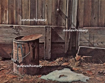 Rustic Art Print Inside the Old Barn  #372