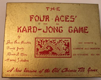 Vintage 1939 The Four Aces Kard-Jong Game Mah-Jong Card Game Complete In Original Box Made In USA