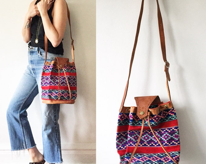 Featured listing image: Vintage Ethnic Woven Bucket Bag, Leather Textile Bag , Crochet Leather Bag , Ethnic Bag