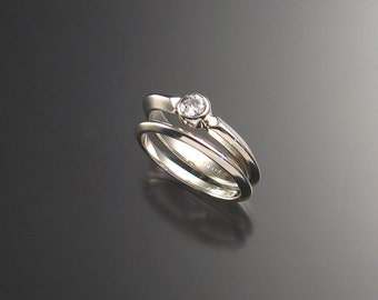 White CZ wedding set bezel-set Sterling Silver made to order in your size