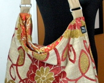 Chenille Rust Green Flowers Suzani Fall Autumn Fabric Large Purse Bag Hobo Slouchy Shoulder Toddler Tote Diaper